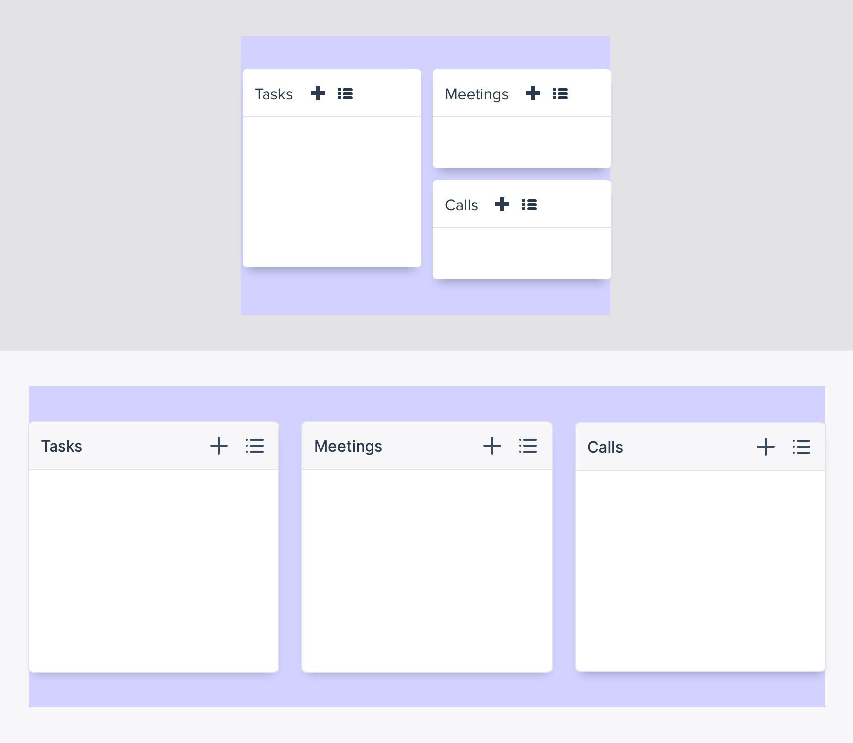 oud versus nieuw design dashboard widgets